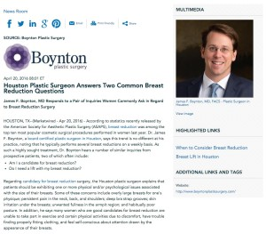 Dr. James F. Boynton provides answers to two popular breast reduction questions.